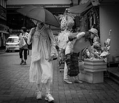 Hiding from the sun (Bill Morgan) Tags: fujifilm fuji x100f bw jpeg acros street kichijoji tokyo