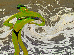 influenced by japanese art (devonpaul) Tags: art japanese influence woman colours annoyed wave sea angry