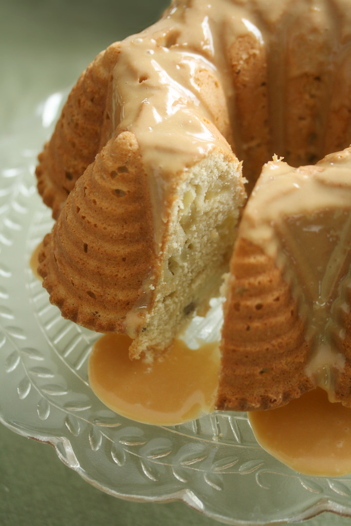 Apple-Beer Bundt Cake w/ Dulce de Leche Glaze