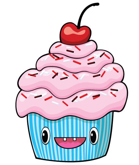 Cupcake Blå Rosa