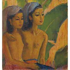 Two Balinese Maidens by Theo Meier