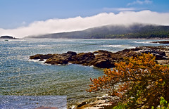 Weather Clearing Over The Schoodic Penninsula (Rob Hanson Photography) Tags: ocean fog clouds rocks maine scenic hdr hdri waterscape acadianationalpark openexr birchharbor schoodicpenninsula