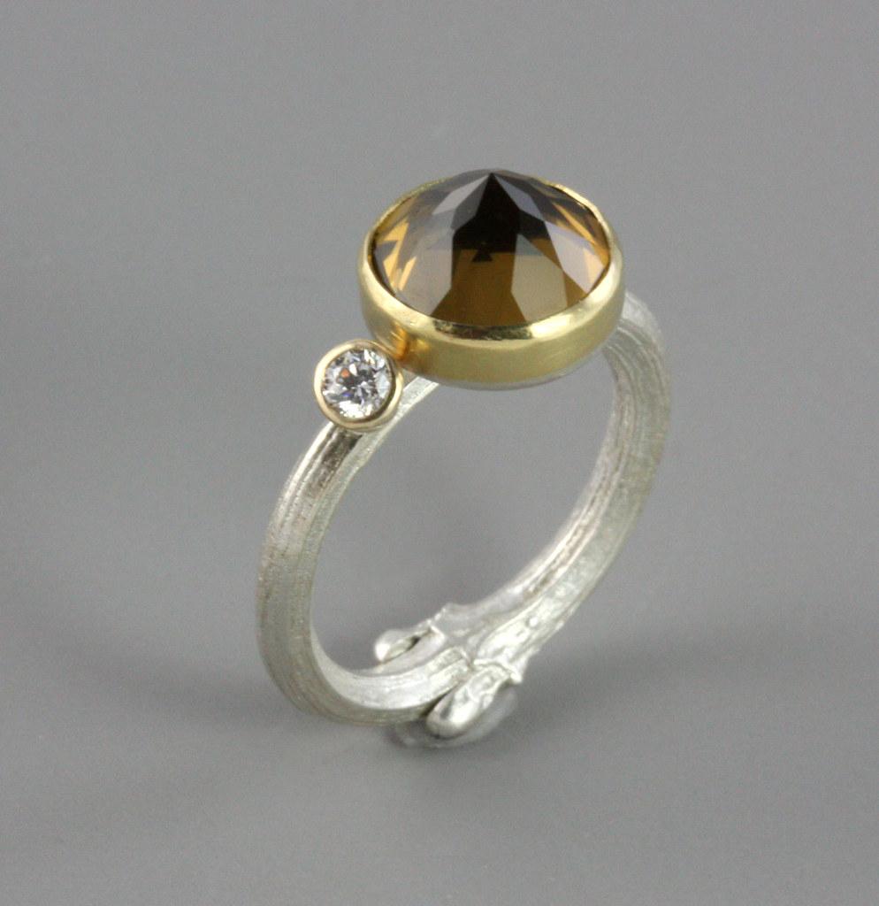Whisky Quartz and Diamond Twig Ring