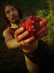 Blood for Uitzilopochtli (Red Leather Photography) Tags: photoshop dark scary blood heart aztec mayan sungod sacrifice redleather shannonmorris keithgass