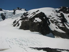 Route across the Blue Glacier from the top of the lateral moraine