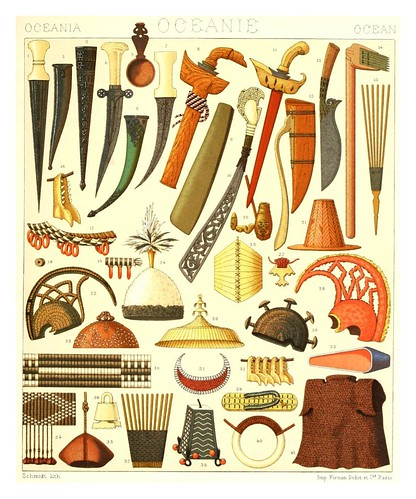 029-Oceania-armas y adornos -Geschichte des kostüms in chronologischer entwicklung 1888- A. Racinet