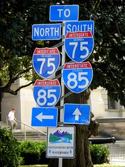 ATLANTA ... which way do we run? (unaerica) Tags: blue atlanta usa signs sign america ga us south north memories happiness journey erica interstate atlantaga unaerica
