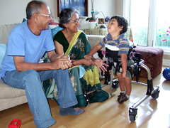 Thamma, Dadu, and Ollie in his walker