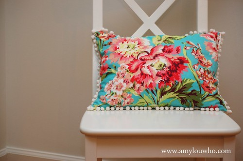 Pom Pom fringe on floral pillow