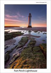 Fort Perch Lighthouse - Explored (awhyu) Tags: new sunset england sky lighthouse rock liverpool reflections river coast brighton northwest perch mersey wirral colorphotoaward