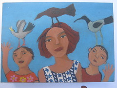 family with birds (kate fern) Tags: blue woman birds painting twins acrylic