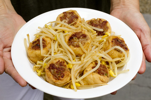 Pork Stuffed Fried Tofu with Soy Bean Sprouts