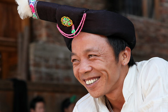 A man in ethnic costume, Chengyang, Guangxi, China