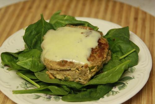 Turkey Marjoram burgers on spinach
