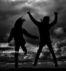 Everyone - Jump for Joy (Andrea Kollo Photography) Tags: sunset blackandwhite bw monochrome clouds collingwood wasaga heather georgianbay monochromatic labourday wasagabeach bluemountain makenna jumpforjoy collingwoodontario nottawasagabay andreakollo andreakollophotographer sunsetpointbeachpark