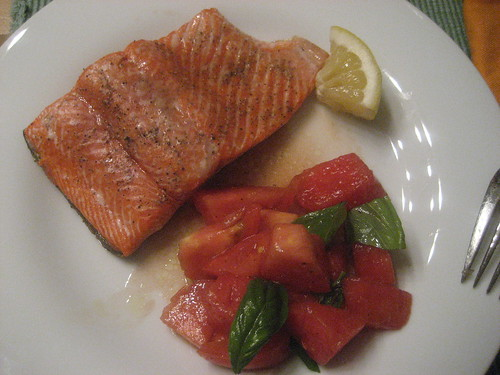 Grilled salmon and grilled watermelon and tomato salad