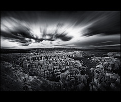 Bryce-Canyon-Utah-Twilight-Storm-Clouds-Matt-Anderson-BW-NPN (Matt Anderson Photography) Tags: park b sunset sky blackandwhite bw white motion black art texture nature beauty rock horizontal clouds sunrise matt dark spectacular landscape outdoors photography for utah blackwhite twilight key long exposure gallery time dusk foreboding room w low fine central scenic dramatic grand monotone canyon anderson national commercial destination bryce amphitheater streaks lowkey region copy lapse formations hoodoos in