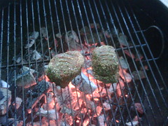Meat on the grill...