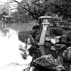 Famous two-legged stone lantern in Kenroku-en Garden in Kanazawa Japan - 1 (Hopeisland) Tags: park trees plant nature japan spring soe kanazawa