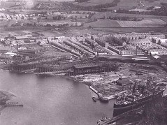 View of the Leven Shipyard from the Castle c 1916.  Rows of workmen's dwellings can be seen behind the slipways (Scottish Maritime Museum - SMM) Tags: building history museum scotland clyde boat sailing ship tank yacht paddle scottish commons vessel steam maritime sail denny dumbarton steamer cruiser turbine irvine leven smm ayrshire scottishmaritimemuseum linthouse ayrshirecoast 8qe ka12 scotmaritime