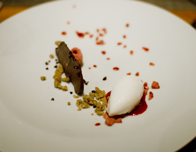 soft chocolate, frozen raspberries, long pepper, ricotta ice cream