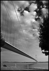humber bridge b&w hdr3 (MIKE WOODFIN, WIRRAL,UK) Tags: bw yorkshire hull hdr humberbridge eastcoast riverhumber
