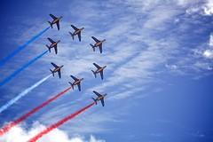 Battle of Britain (mark_stevo) Tags: sky cloud color colour plane canon airplane flying aircraft jet aeroplane formation jersey fullframe channelislands battleofbritain airdisplay formationflying ef100400mmf4556lisusm 5dmarkii 5d2 canon5dmarkii jerseyinternationalairdisplay