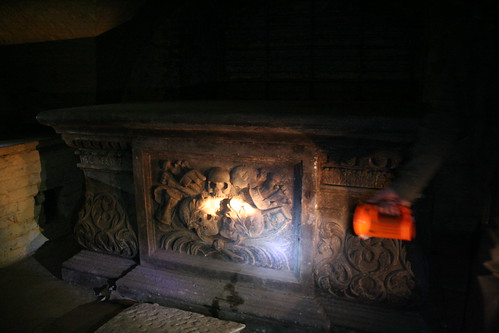 The tomb of the Necromancer in Shoreditch Church crypt