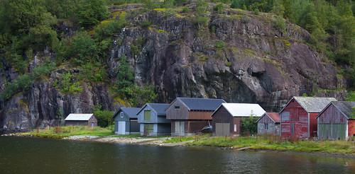 Boat houses at Fjæra
