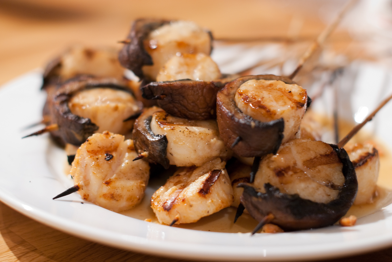 Greg's portobello wrapped scallops