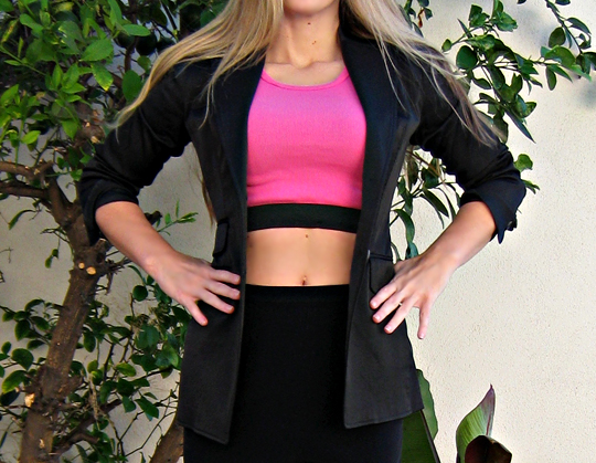diy bra top with blazer