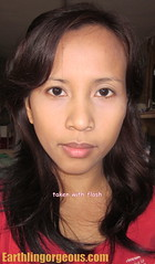 wearing Myra E Shine Free Face Powder taken with flash