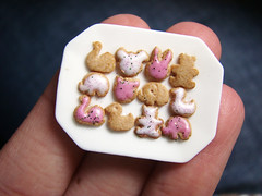 Animal Cookies - Pink and White (PetitPlat - Stephanie Kilgast) Tags: birthday pink party white miniatures cookie polymerclay biscuit sprinkles icing earrings dollhouse animalcookies miniaturefood miniaturen petitplat stephaniekilgast