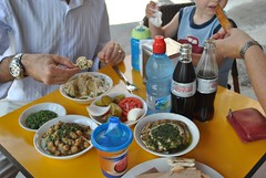 A table at From Gaza to Berlin (Yzukerman) Tags: food berlin jerusalem middle eastern hummus gaza between חומוס fromgazatoberlin ביןעזהלברלין