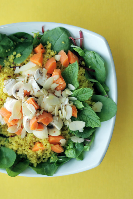 Spinach, Carrots and White Button Mushrooms Couscous