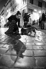 Toto (pic fix) Tags: people blackandwhite bw italy woman rome roma building monochrome face animal animals female night canon dark lights italia pavement monotone figure cobbles brickroad brickstreets canonphotography ef24105mmf4lisusm animalplenet ysplixblack