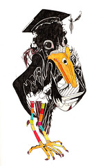 Scholarly Crow (el sutton) Tags: bird animals illustration character board surreal mortar learning scholar crow graduate letraset promarker