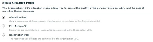 vmware vcloud director allocation model