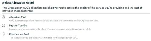 vmware vcloud director allocation model