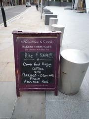 Konditor come & enjoy (Ambernectar 13) Tags: morning london pavement thecity sausage fresh september rolls monday porridge blackboard thegherkin 2010 croissants stmaryaxe aboard chalkwriting konditorcook riseshine pavementsign comeenjoycoffee freshsausagerolls