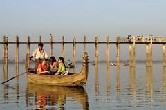 Myanmar, Amarapura. TOURIST BOAT. (Ania Blazejewska) Tags: travel sunset people color reflection tourism colors relax asian boats boat asia burma tourist tourists traveller myanmar burmese amarapura