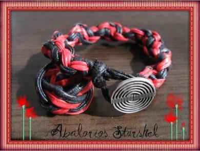Pulsera cuero nudo plano rojo&negro