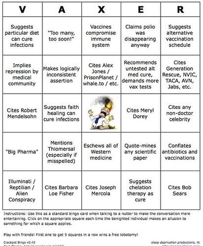 anti-vaxer bingo