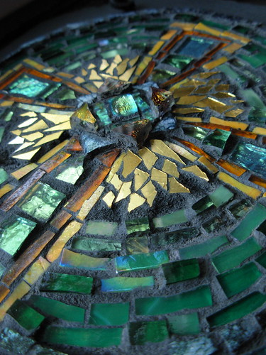 Celtic Cross in Green and Amber by Margaret Almon.