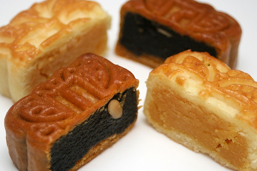 Black sesame and custard mini mooncakes