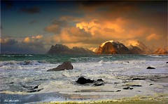 Where elves dance (steinliland) Tags: seascape mountains water evening sand rocks waves shore lofoten soe lofotenislands flakstad flickrsbest the4elements platinumphoto overtheexcellence thesuperbmasterpiece steinliland rubyphotographer atomicaward acticlight