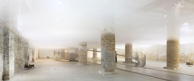 Edificio con una nube en su interior