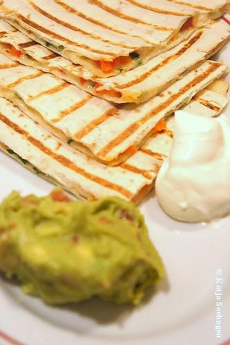 Quesadillas, Sour Creme and Guacamole