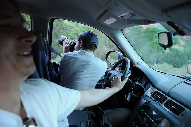 Driving a car in Zion National Park