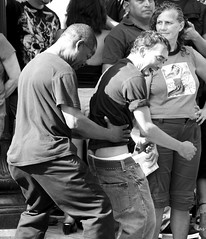 The Thong Dance (las - initially (Lori Semprevio)) Tags: blackandwhite bw dancers thong albanyny bumpandgrind larkstreet streetfestivals streetdancing larkfest larkfest2010 albanylarkfest2010 thongdance